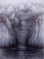 Zwischenlandung,2020,Bleistift, 62x47 cm