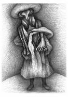 Marie, 2014, Ölstift, Bleistift, 58x43 cm
