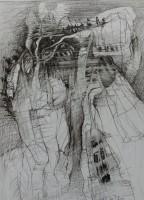 Wirrwahr,2020,Ölstift,28x21 cm